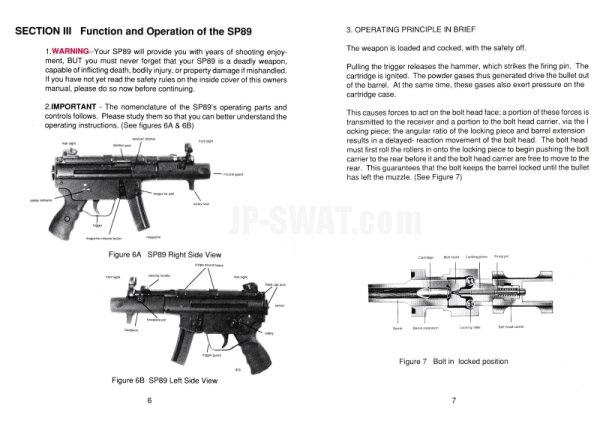 H&K SP89 Pistol Instruction Manual(H&K SP89 ピストル マニュアル)