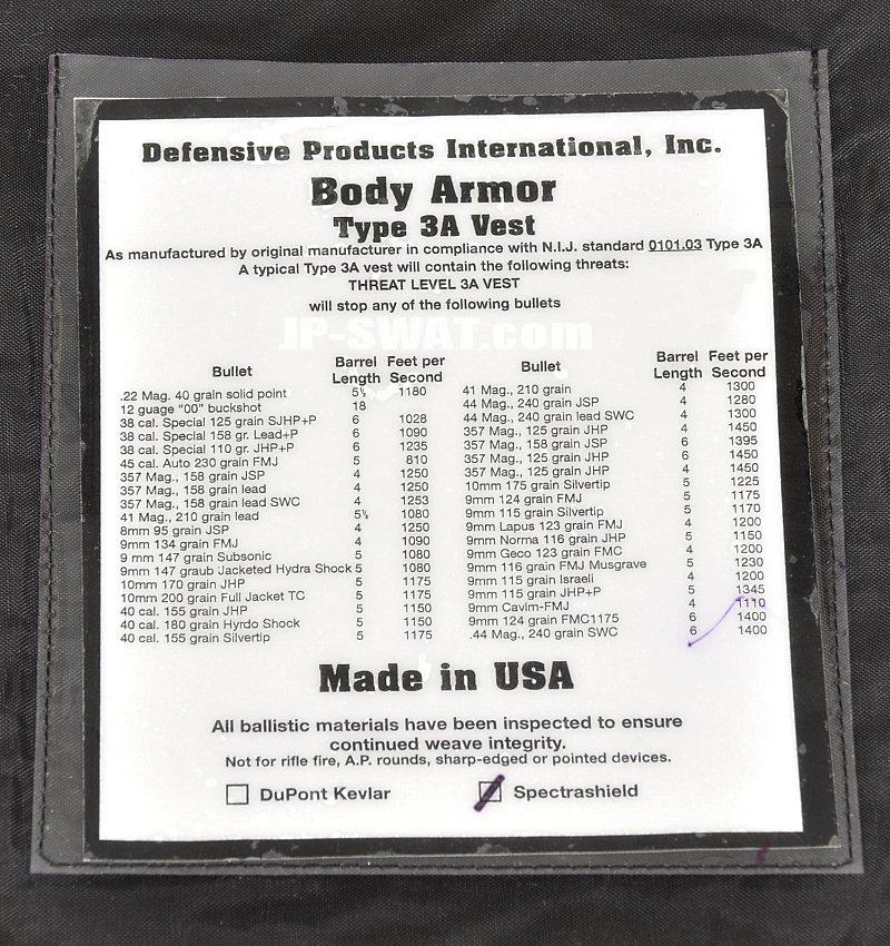 Defensive Products International (ディフェンシブ・プロダクツ・インターナショナル) コンシーラブル・ボディー・アーマー・ベスト
